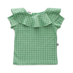 Ruffle Collar Tee in Green Checks by Oeuf