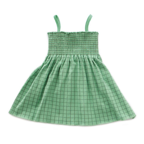 Smock Dress in Green Checks by Oeuf