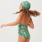 Green Flowers Ruffle Halter Swimsuit by Oeuf