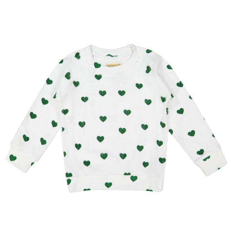 Green Hearts Terry Sweatshirt by Hugo Loves Tiki