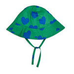 Green Hearts Sun Hat by Mini Rodini