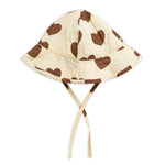 Off White Hearts Sun Hat by Mini Rodini