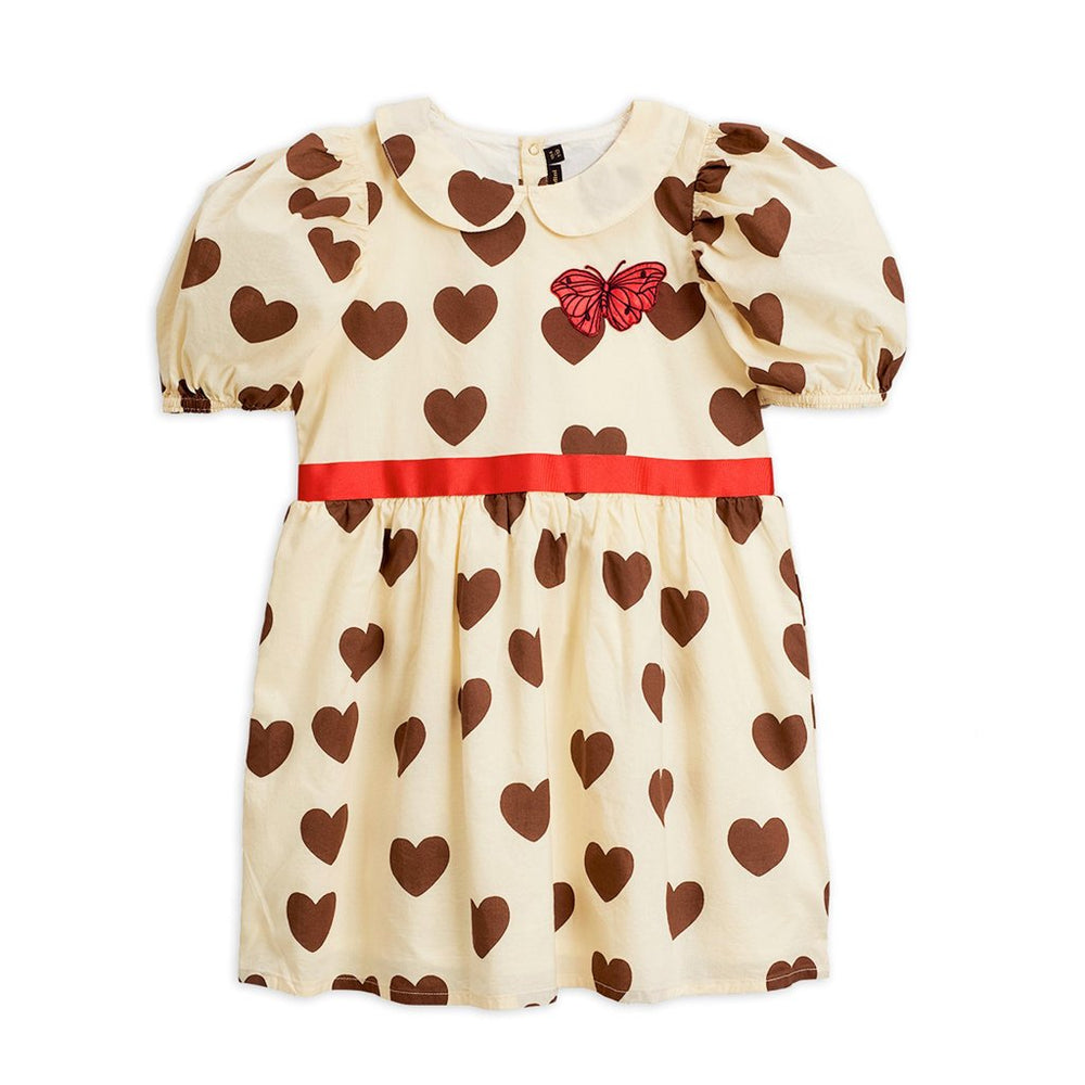 Off White Hearts Woven Dress by Mini Rodini