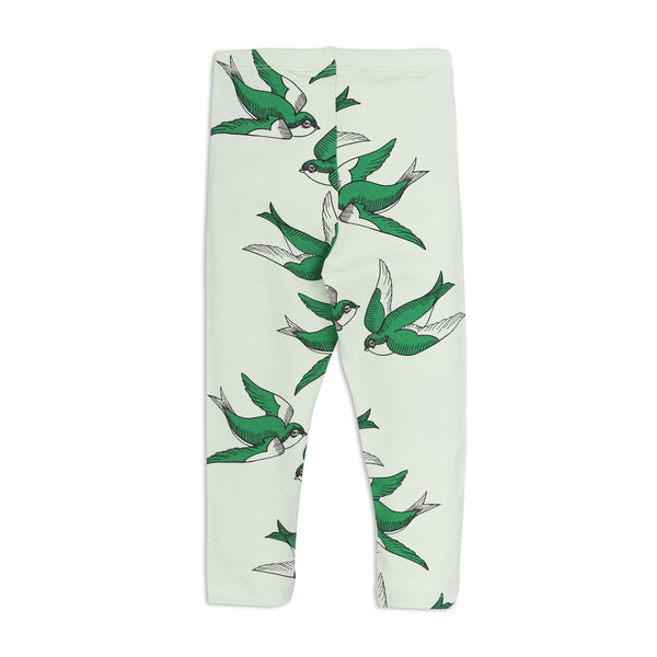 Green Swallow Leggings by Mini Rodini