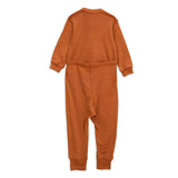 Panda Wool Long Sleeve Onesie in Brown by Mini Rodini