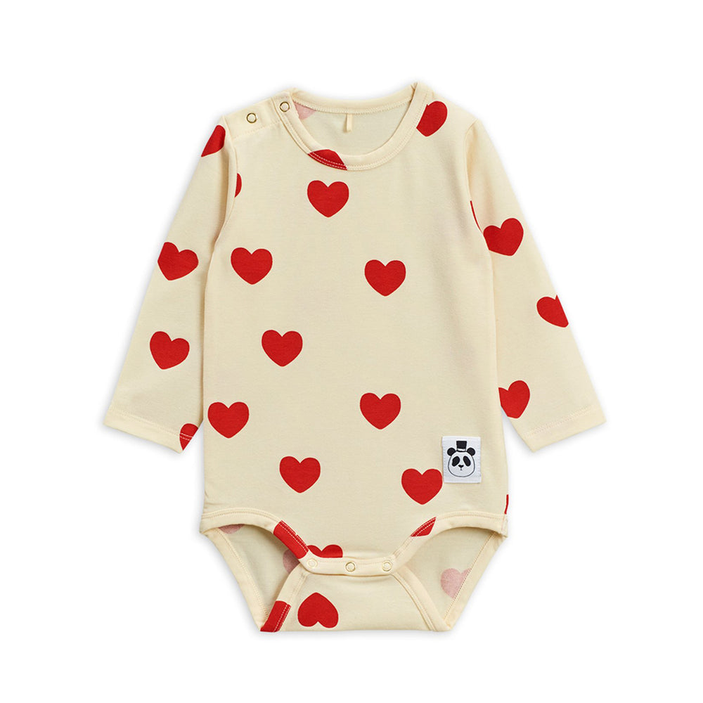 Hearts Long Sleeve Bodysuit by Mini Rodini