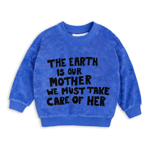 Blue Mother Earth Terry Sweatshirt by Mini Rodini