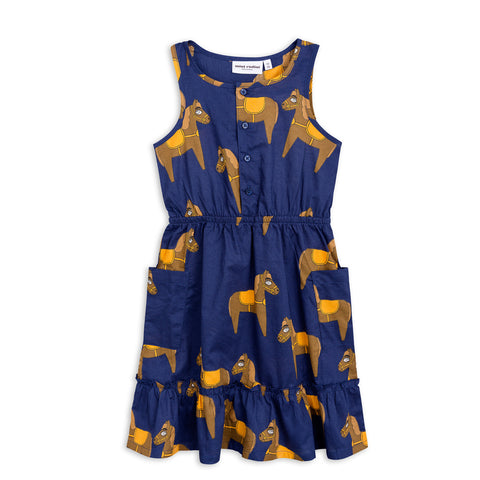 Horse Woven Flounce Dress by Mini Rodini