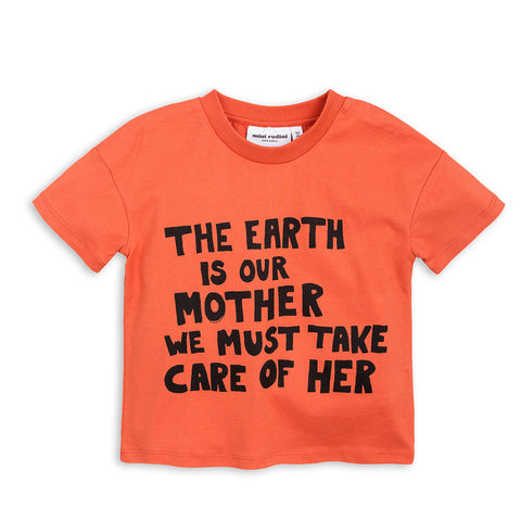 Orange Mother Earth Tee by Mini Rodini
