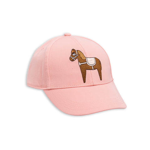 Pink Horse Embroidery Cap by Mini Rodini