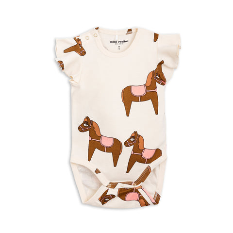 Pink Horse Wing Bodysuit by Mini Rodini