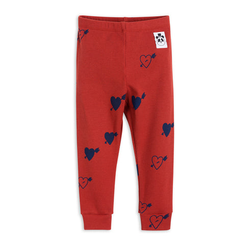 Red Heart Rib Leggings by Mini Rodini