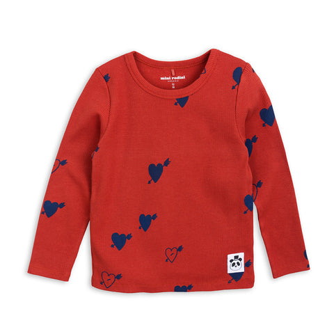 Red Heart Rib Long Sleeve Tee by Mini Rodini