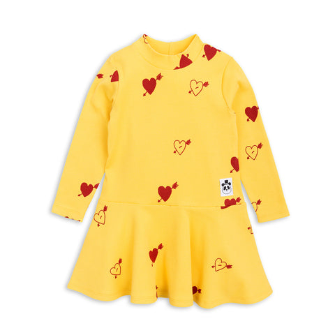Yellow Heart Rib Dance Dress by Mini Rodini