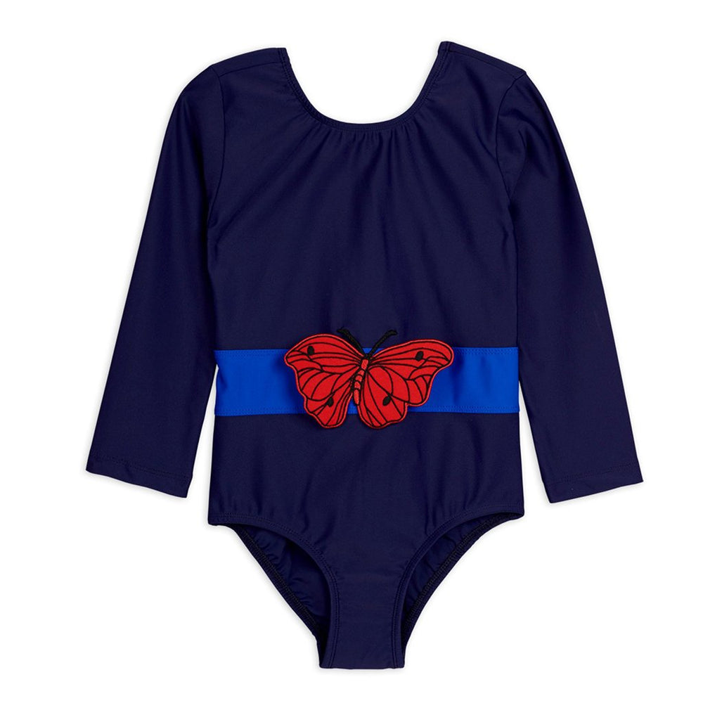 Navy Butterfly Long Sleeve Swimsuit by Mini Rodini
