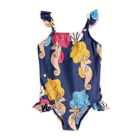 Navy Seahorse Wing Swimsuit by Mini Rodini