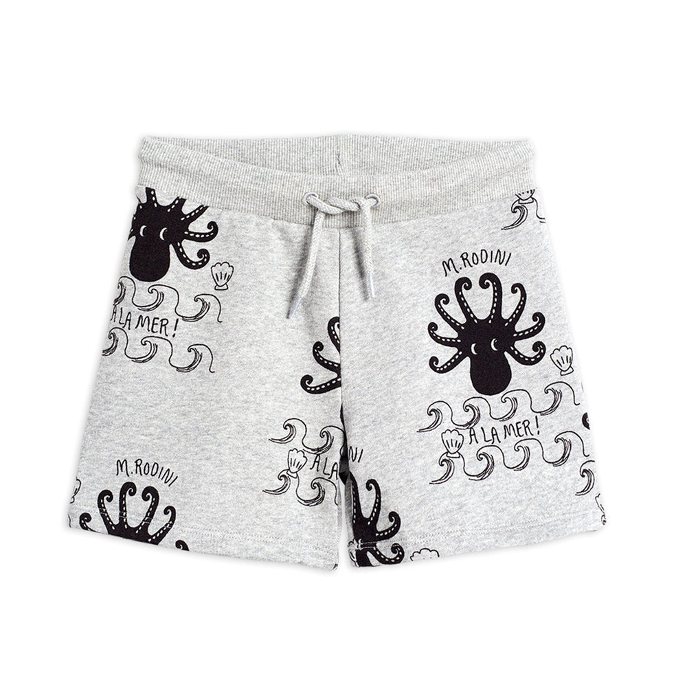 Octopus Sweatshorts in Grey Melange by Mini Rodini