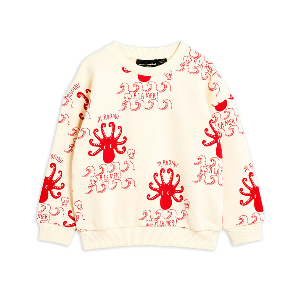 Octopus Sweatshirt Off White by Mini Rodini