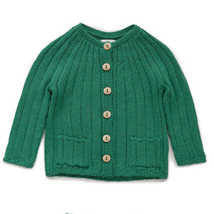 Everyday Cardi in Grass Green by Oeuf