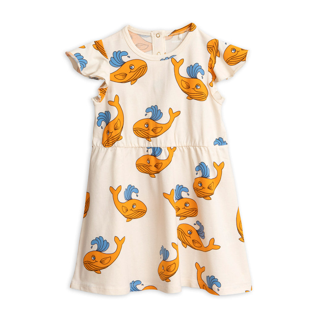 Orange Whale Wing Dress by Mini Rodini