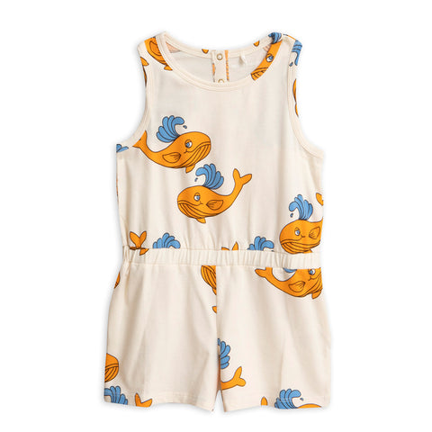 Orange Whale Summer Suit by Mini Rodini