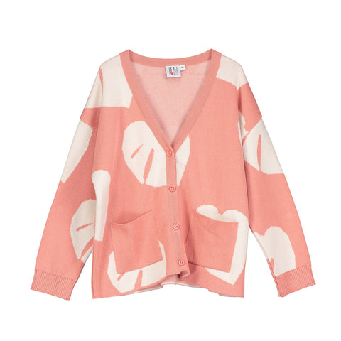 Oversized Knit Cardigan in Coral Leaves by Beau Loves
