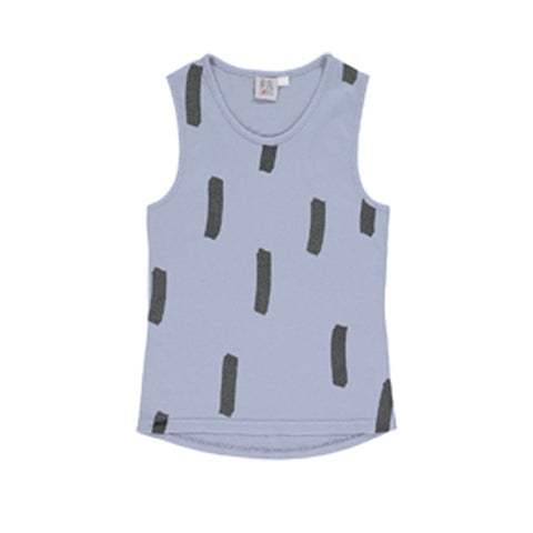 Racer Vest in Chalk Blue with Paintbrush Pattern by Beau Loves