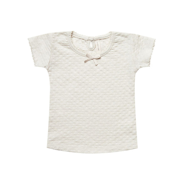 Pointelle Tee in Pebble by Quincy Mae