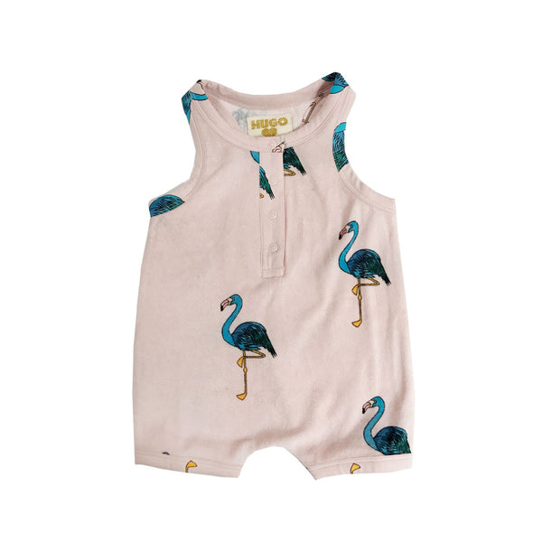 Pink Flamingos Terry Shorts Romper by Hugo Loves Tiki