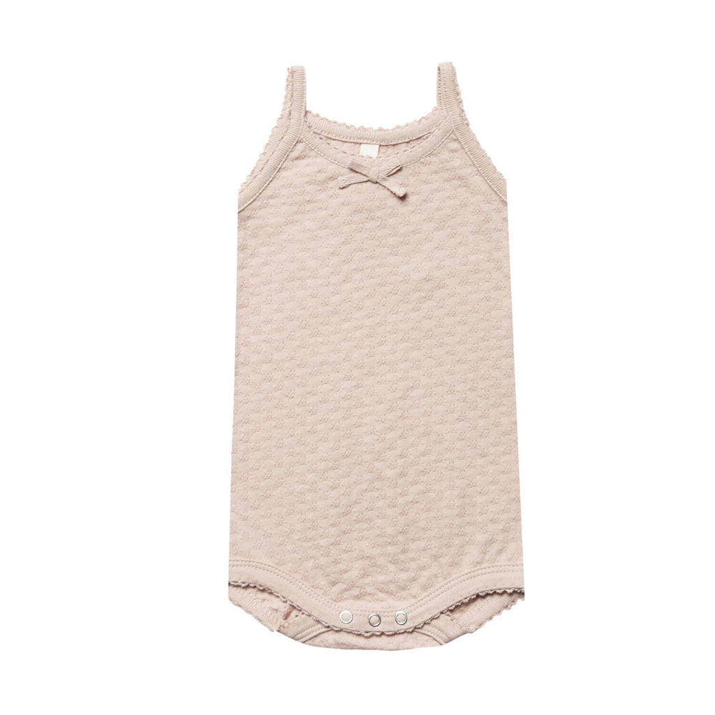 Pointelle Tank Onesie in Rose by Quincy Mae