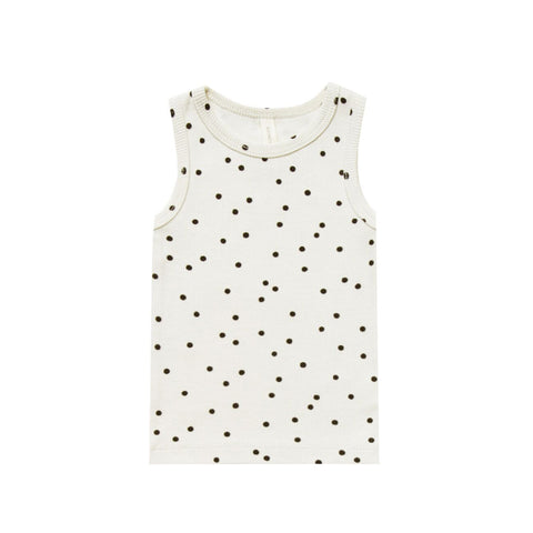 Ribbed Tank in Pebble Polka Dot by Quincy Mae