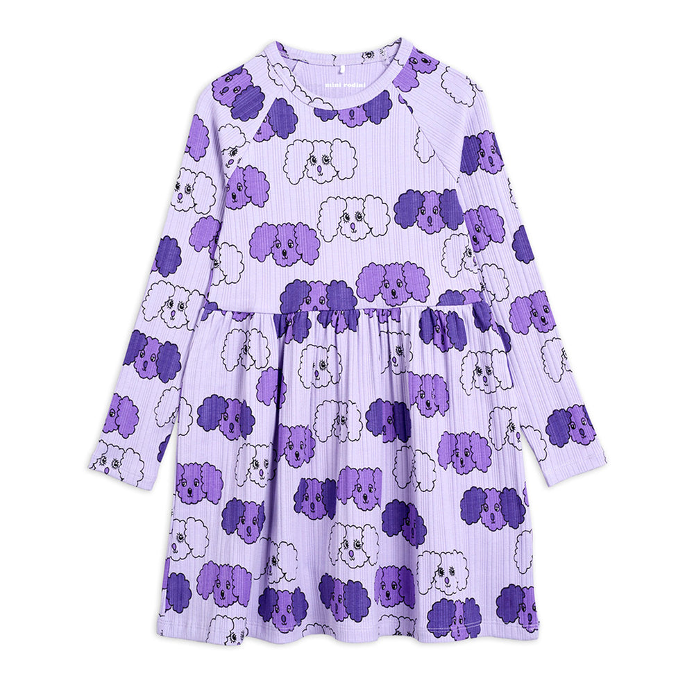 Load image into Gallery viewer, Purple Fluffy Dog Long Sleeve Dress by Mini Rodini