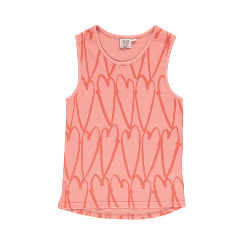 Racer Vest in Coral Lovehearts by Beau Loves