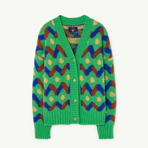 Racoon Kids Cardigan in Green by The Animals Observatory