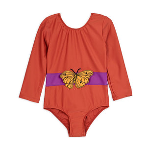 Red Butterfly Long Sleeve Swimsuit by Mini Rodini