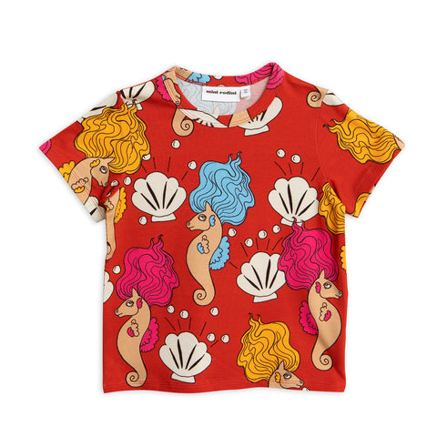 Red Seahorse Tee by Mini Rodini