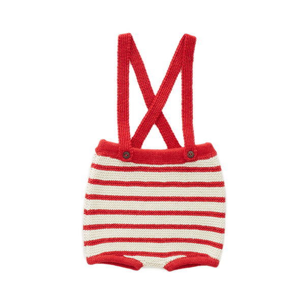 Red and White Stripe Suspender Shorts by Oeuf
