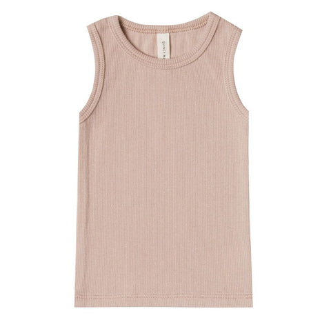Ribbed Baby Tank in Rose by Quincy Mae
