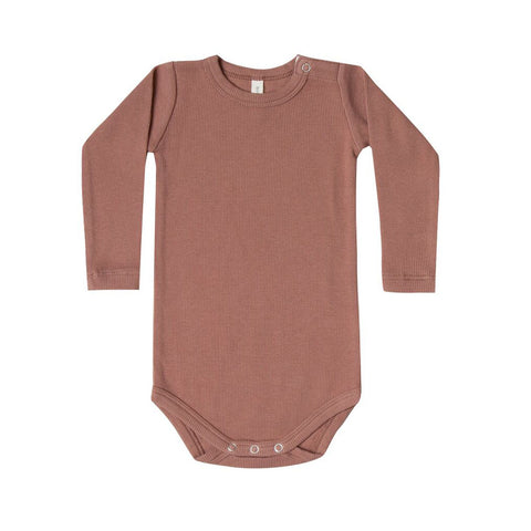 Ribbed Long Sleeve Onesie in Clay by Quincy Mae