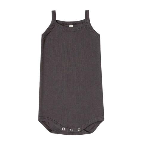 Ribbed Tank Onesie in Coal by Quincy Mae
