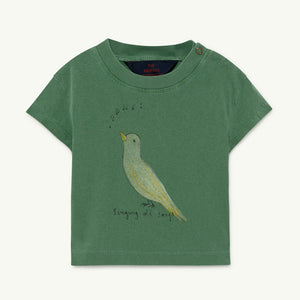 Rooster Baby T-shirt in Green Bird by The Animals Observatory