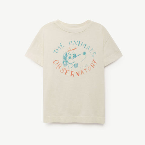 Rooster Kids T-Shirt Raw White Dog by The Animals Observatory