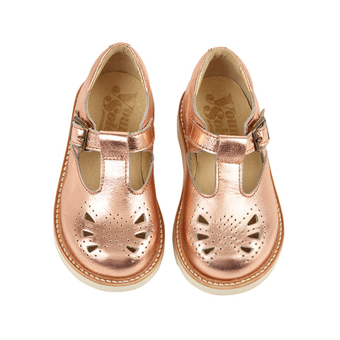Rosie T-bar Rose Gold by Young Soles