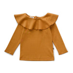 Ruffle Collar Tee in Ochre by Oeuf