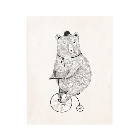 Cycling Bear Art Print by Rylee and Cru