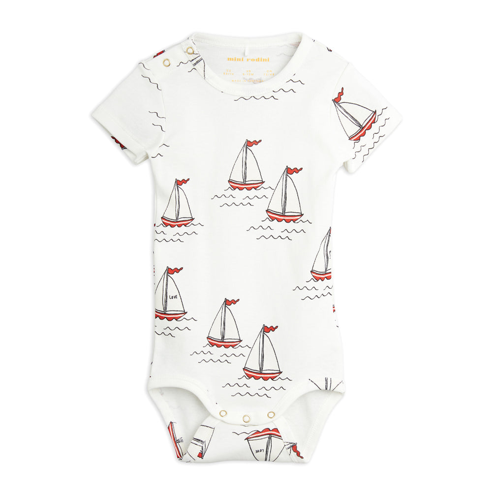 Load image into Gallery viewer, Sailing Boats Short Sleeve Bodysuit by Mini Rodini