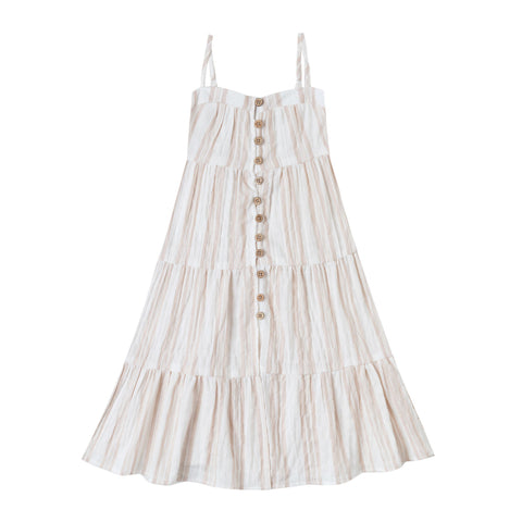 Sand Stripe Tiered Maxi Dress by Rylee and Cru