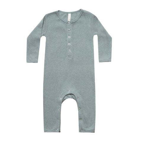 Ribbed Baby Jumpsuit in Sea by Quincy Mae