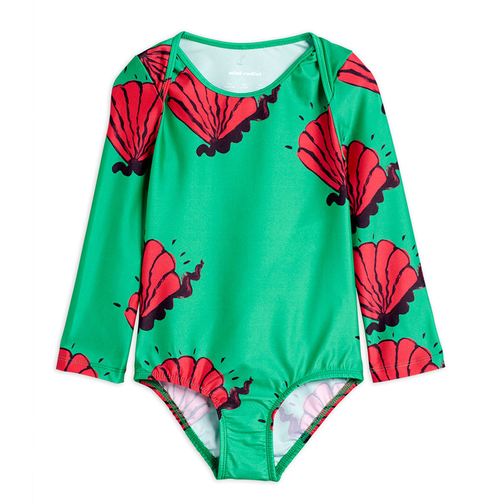 Shell Overlap Long Sleeve Swimsuit by Mini Rodini