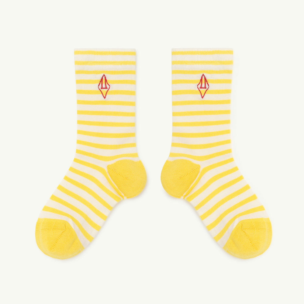 Load image into Gallery viewer, Snail Kids Socks in Yellow Logo by The Animals Observatory